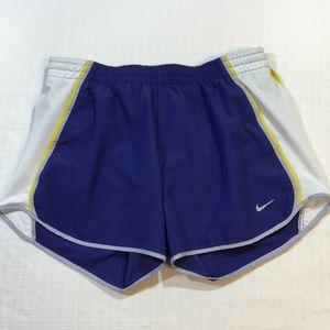 Nike Women's DriFit Shorts Small Blue White Yellow